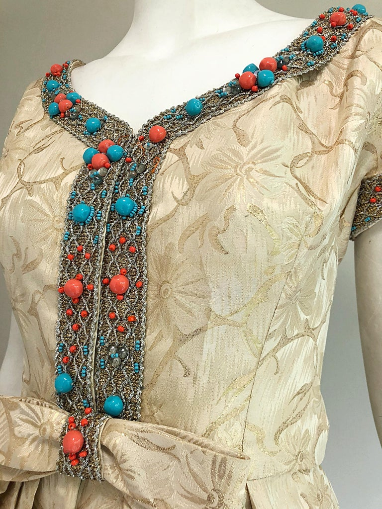 1960s Size 10 12 Gold Silk Turquoise Coral Beaded