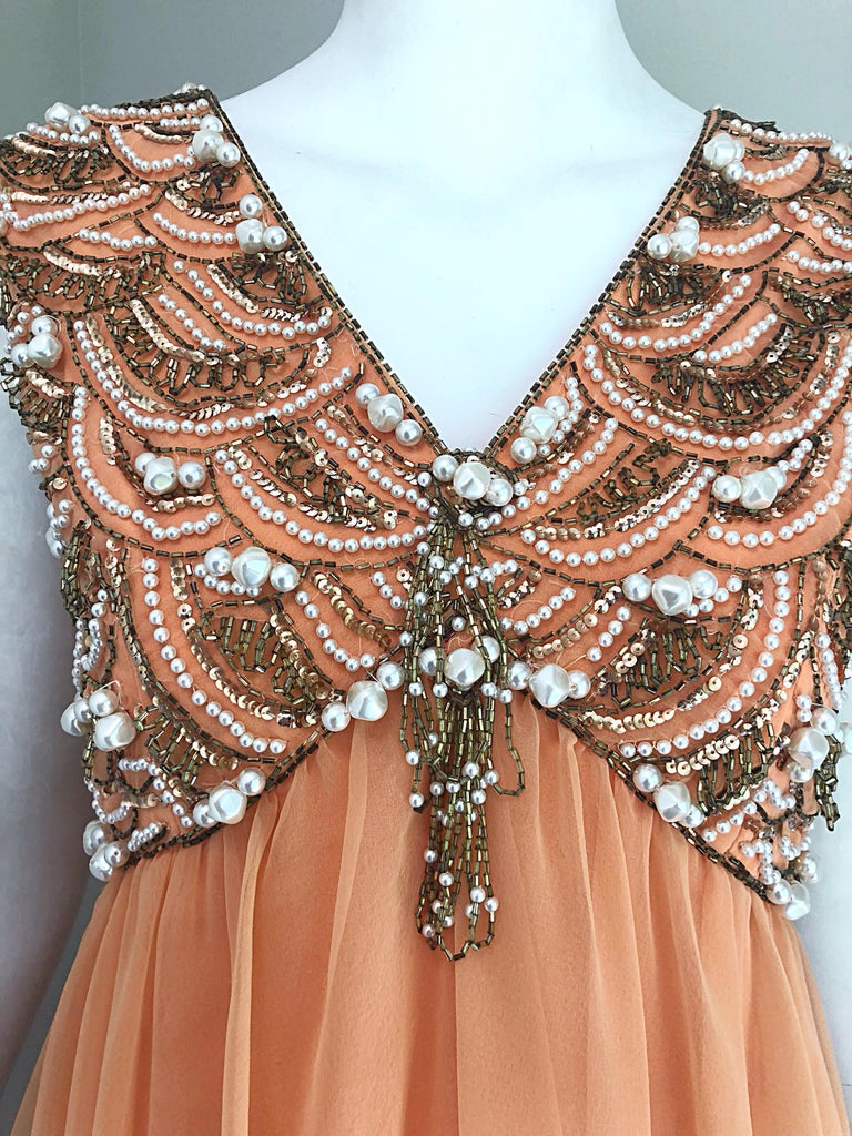 Orange 1960s Isabell Gerhart Sherbet Coral Demi Couture Beaded Chiffon 60s Gown Dress For Sale