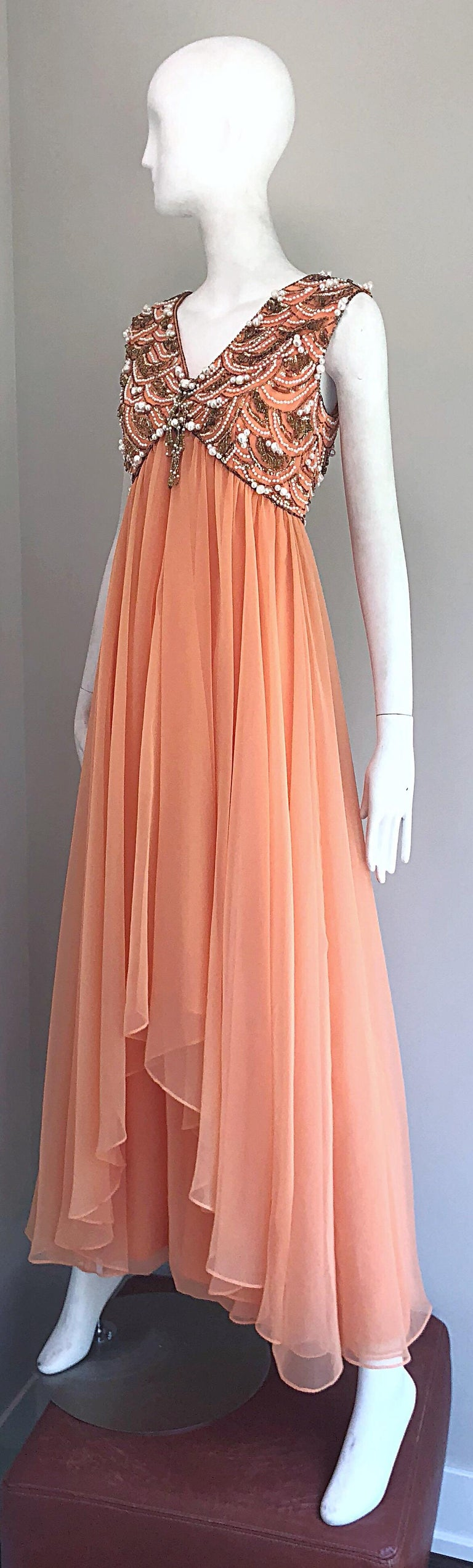 Women's 1960s Isabell Gerhart Sherbet Coral Demi Couture Beaded Chiffon 60s Gown Dress For Sale