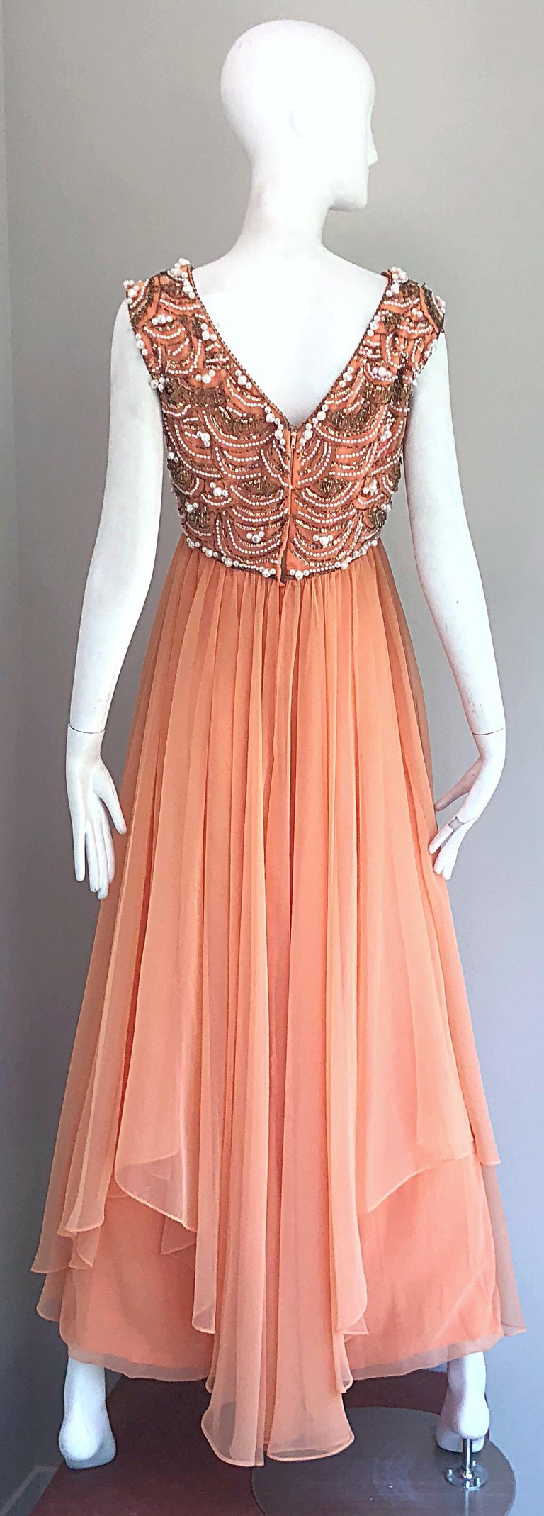 1960s Isabell Gerhart Sherbet Coral Demi Couture Beaded Chiffon 60s Gown Dress In Excellent Condition For Sale In Chicago, IL