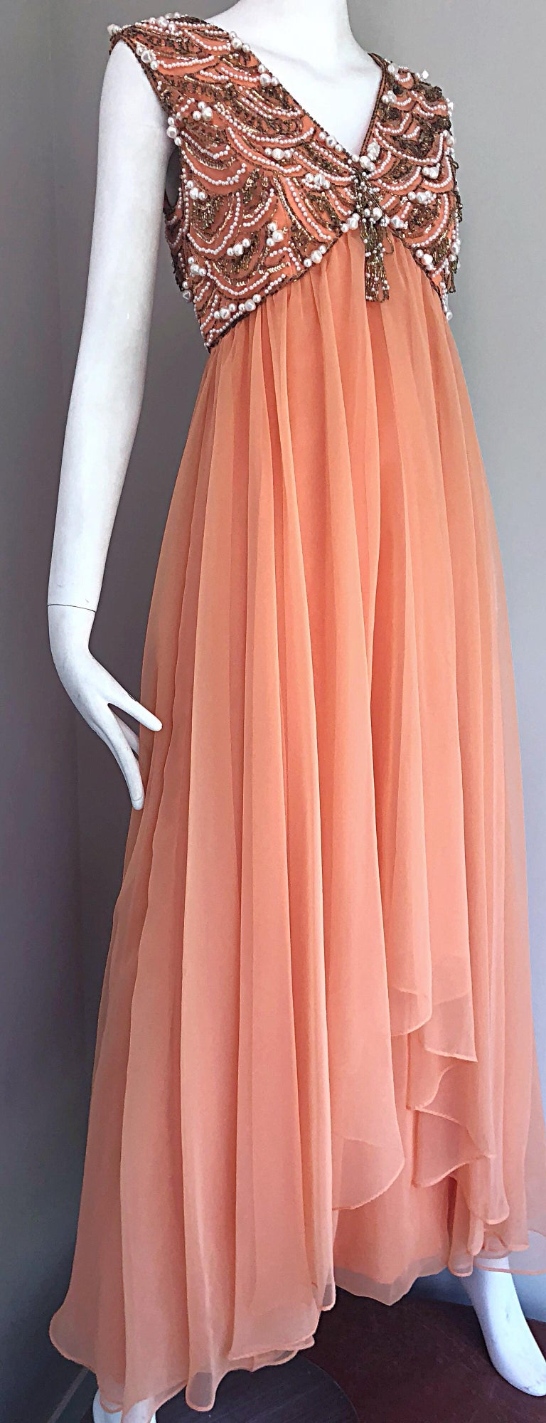 1960s Isabell Gerhart Sherbet Coral Demi Couture Beaded Chiffon 60s Gown Dress For Sale 1