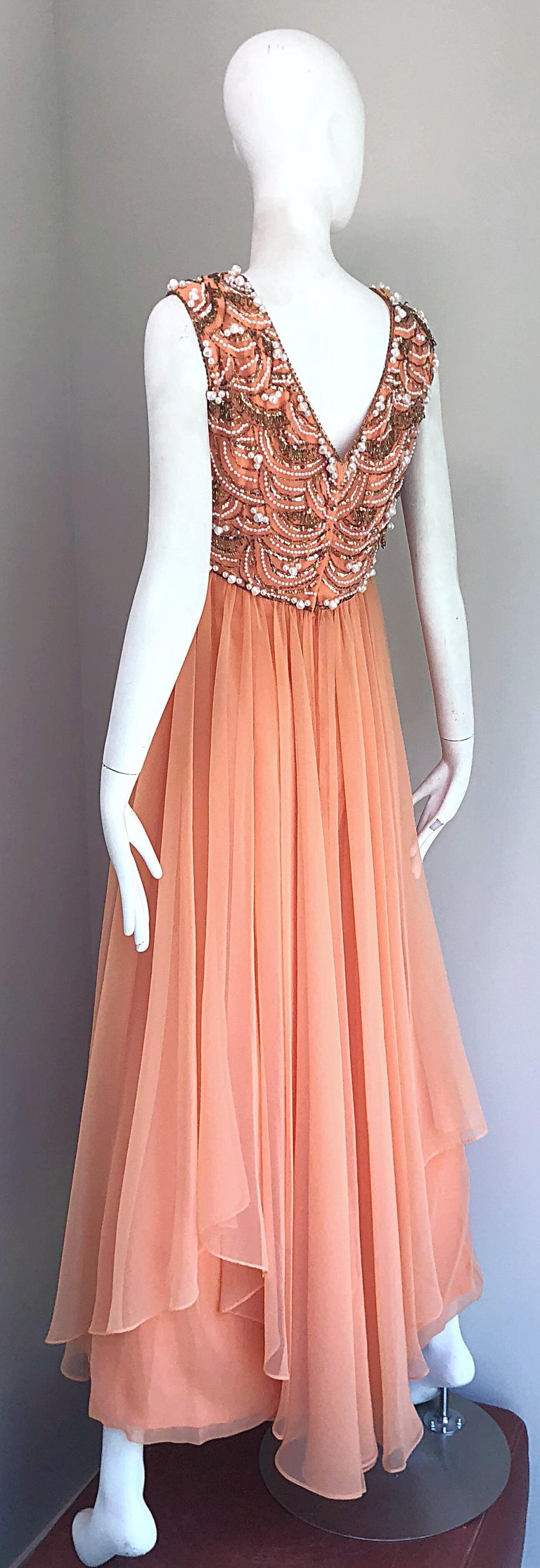 1960s Isabell Gerhart Sherbet Coral Demi Couture Beaded Chiffon 60s Gown Dress For Sale 2