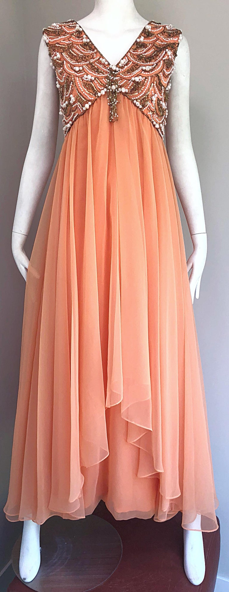 1960s Isabell Gerhart Sherbet Coral Demi Couture Beaded Chiffon 60s Gown Dress For Sale 3