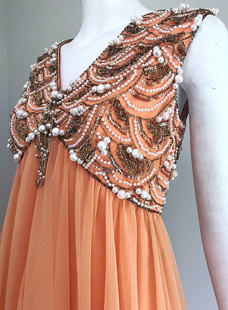 1960s Isabell Gerhart Sherbet Coral Demi Couture Beaded Chiffon 60s Gown Dress For Sale 4