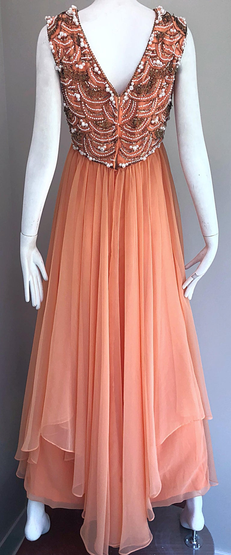 1960s Isabell Gerhart Sherbet Coral Demi Couture Beaded Chiffon 60s Gown Dress For Sale 5