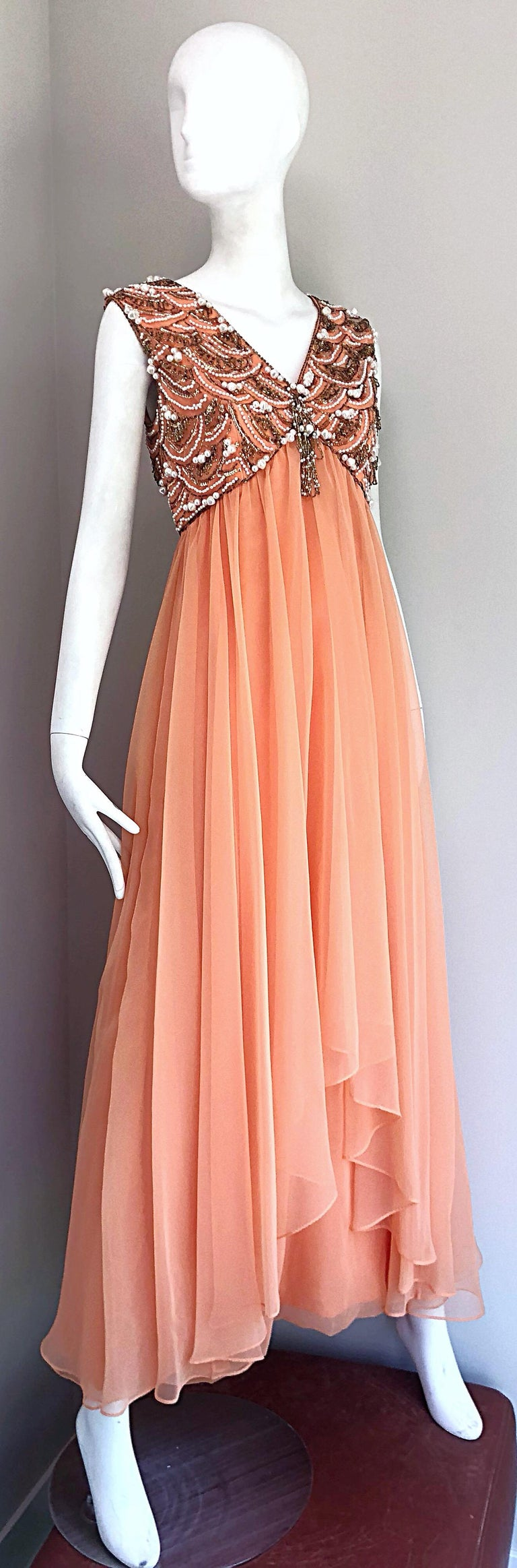 1960s Isabell Gerhart Sherbet Coral Demi Couture Beaded Chiffon 60s Gown Dress For Sale 6
