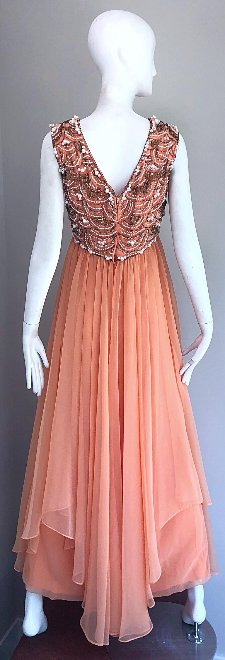 1960s Isabell Gerhart Sherbet Coral Demi Couture Beaded Chiffon 60s Gown Dress For Sale 7