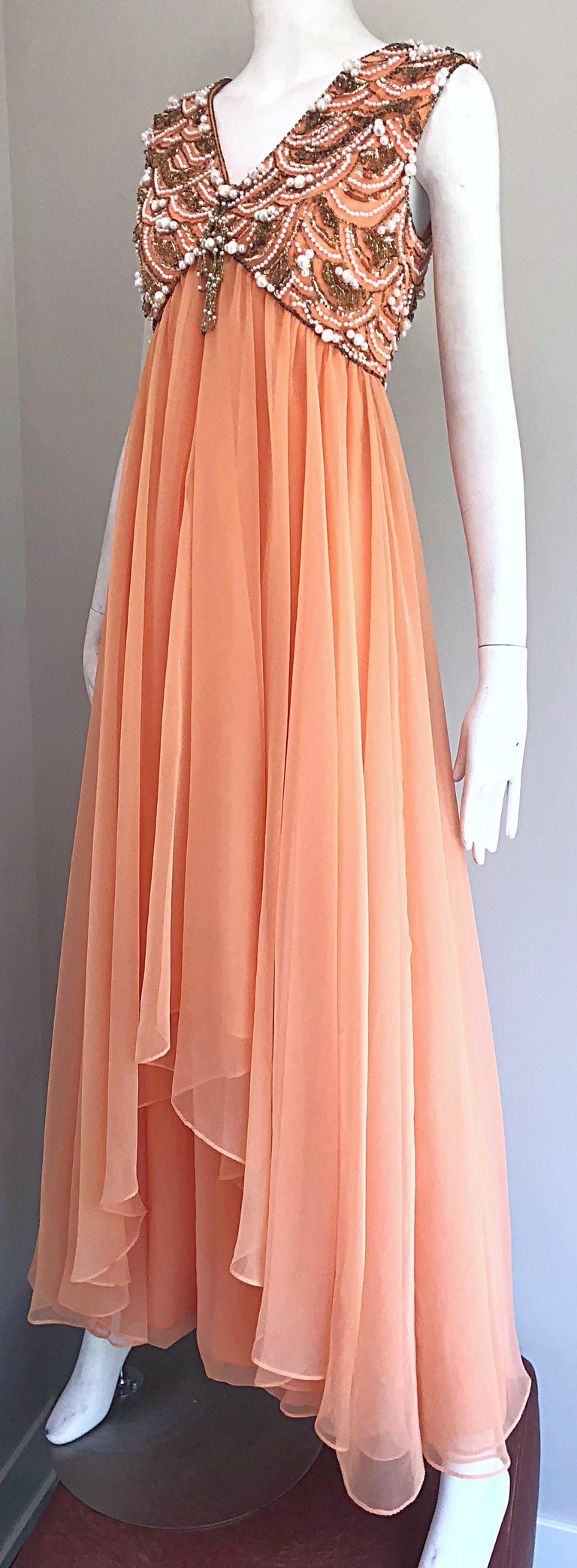 1960s Isabell Gerhart Sherbet Coral Demi Couture Beaded Chiffon 60s Gown Dress For Sale 8
