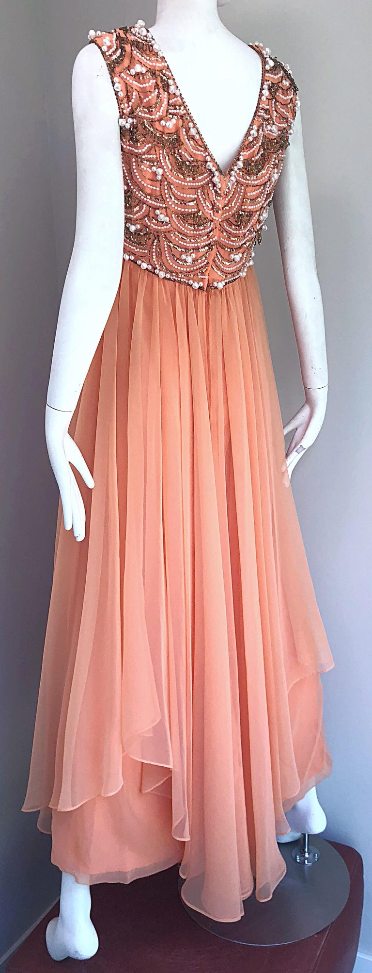 1960s Isabell Gerhart Sherbet Coral Demi Couture Beaded Chiffon 60s Gown Dress For Sale 9