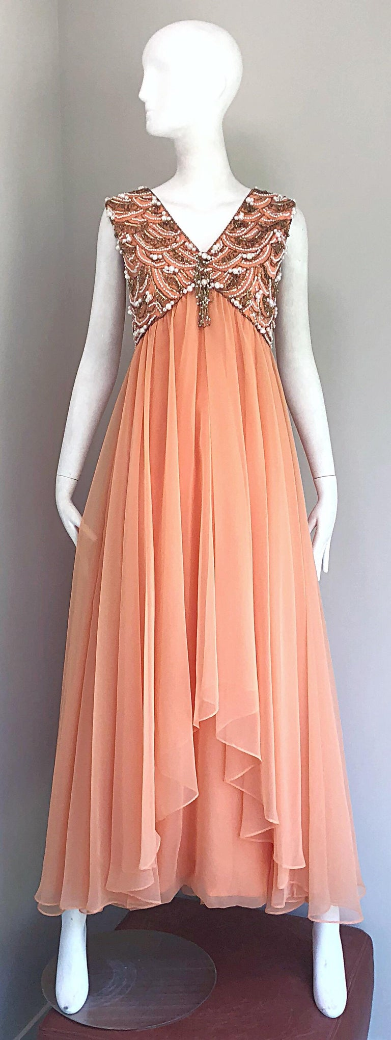 1960s Isabell Gerhart Sherbet Coral Demi Couture Beaded Chiffon 60s Gown Dress For Sale 10