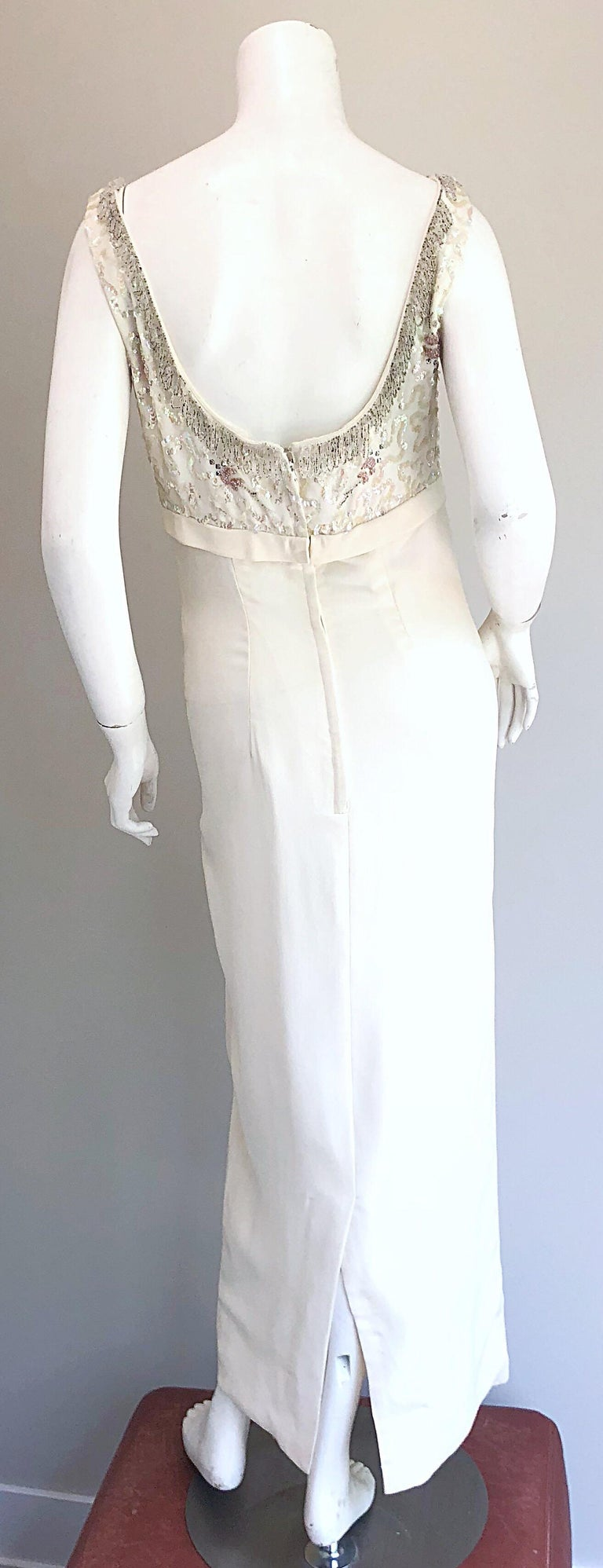 Gorgeous 1960s White Sequin Beaded Vintage Crepe 60s Evening Gown ...