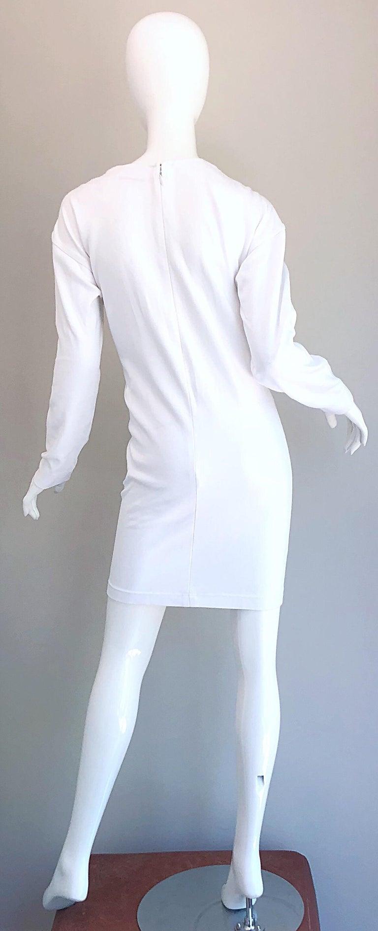 1990s Bill Blass Logo Mania White + Gold Vintage 90s Sweatshirt Dress Medium For Sale 1