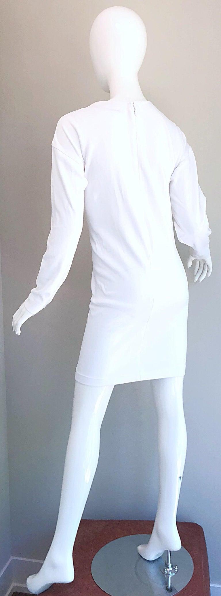 1990s Bill Blass Logo Mania White + Gold Vintage 90s Sweatshirt Dress Medium For Sale 3