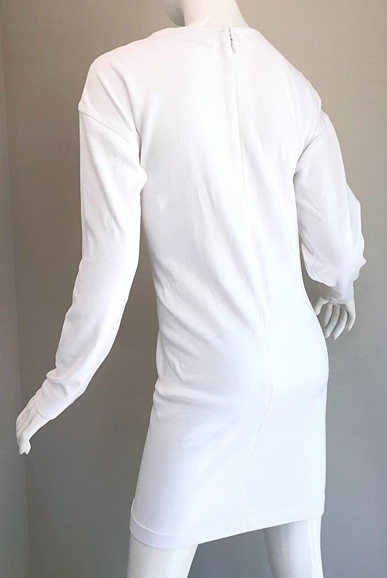 1990s Bill Blass Logo Mania White + Gold Vintage 90s Sweatshirt Dress Medium For Sale 7