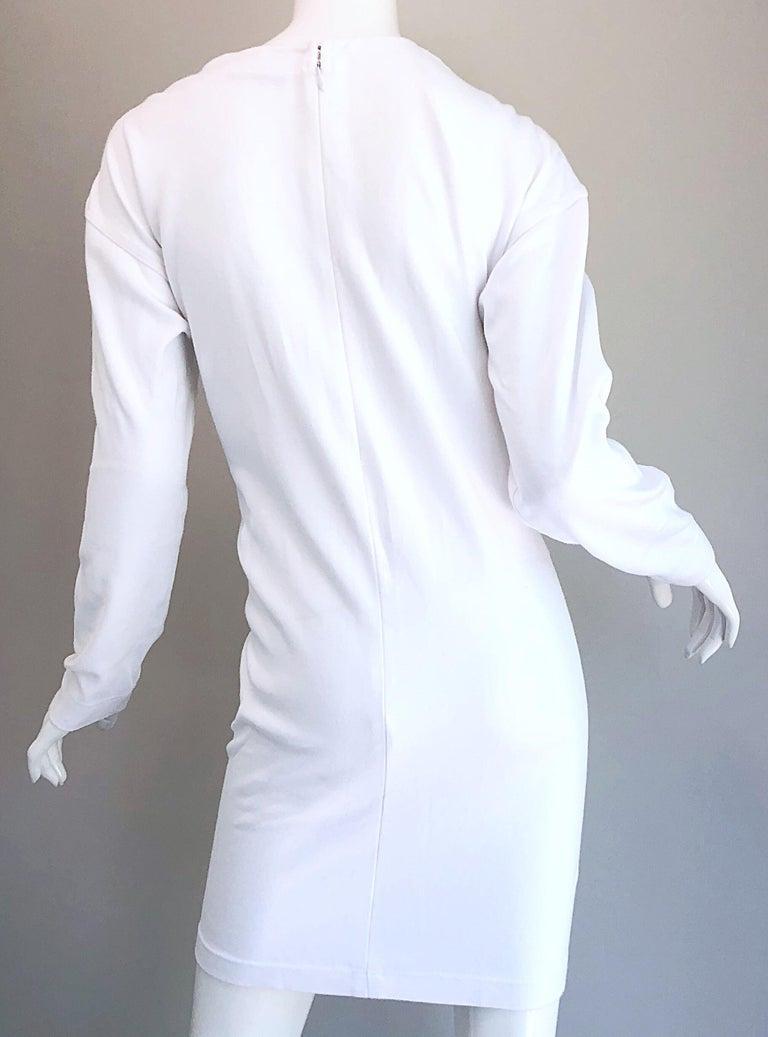1990s Bill Blass Logo Mania White + Gold Vintage 90s Sweatshirt Dress Medium For Sale 8