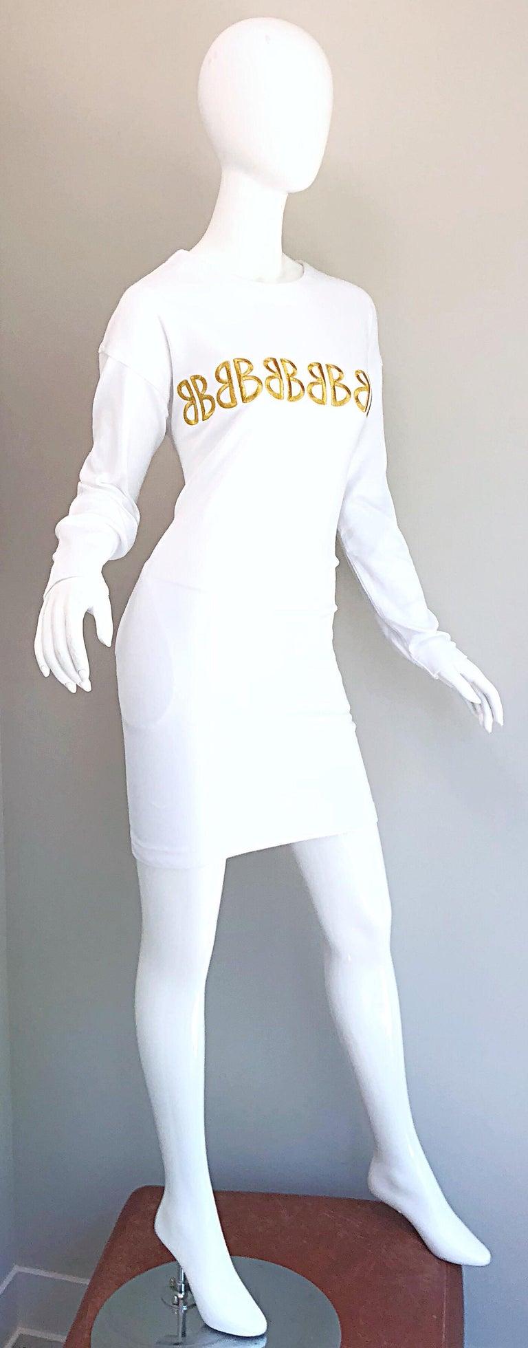 1990s Bill Blass Logo Mania White + Gold Vintage 90s Sweatshirt Dress Medium For Sale 9