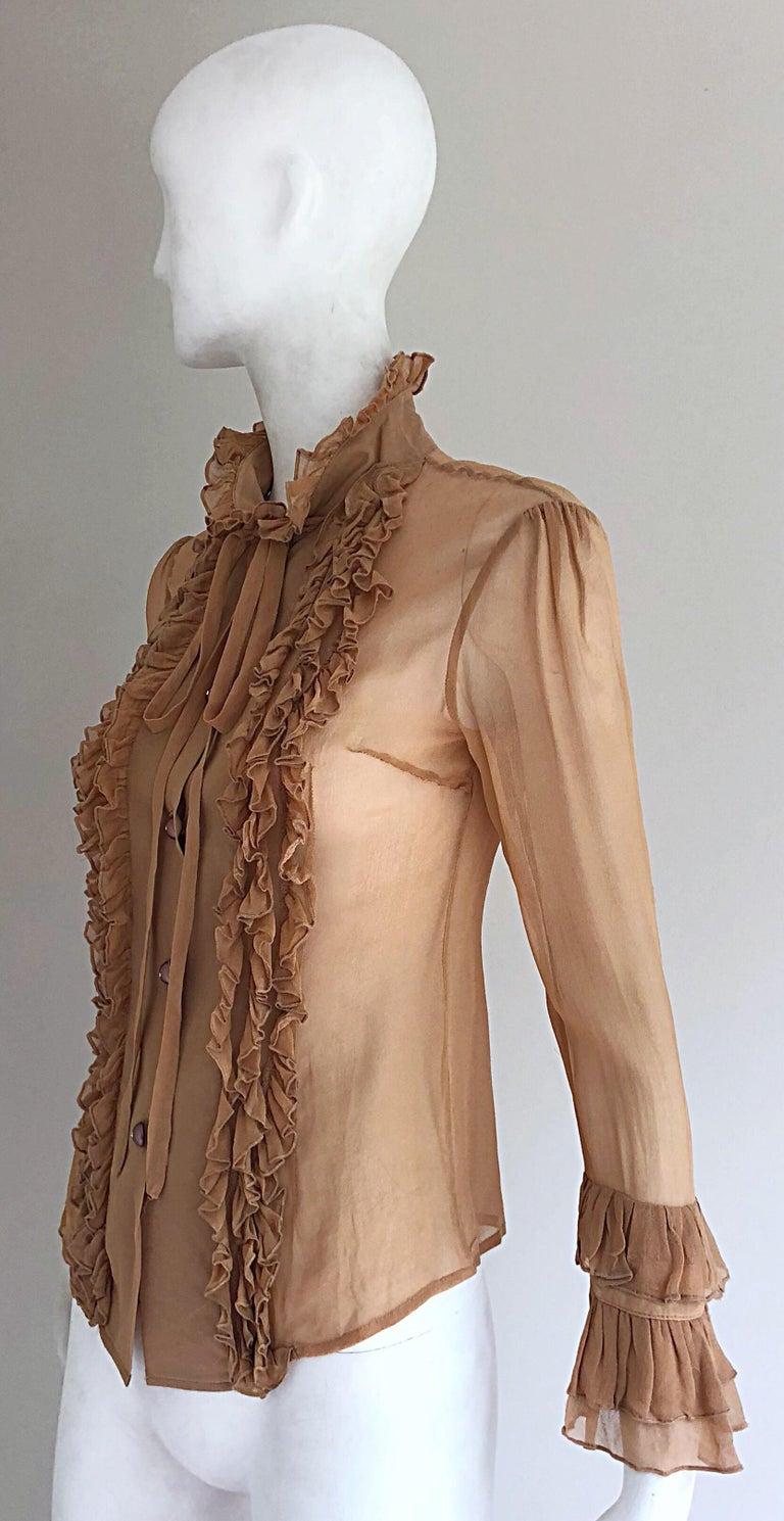 6e027b8aa7b29e Vintage Chloe 1990s Victorian Silk Nude Chiffon Size 4 Sheer 90s Tuxedo  Blouse For Sale 7