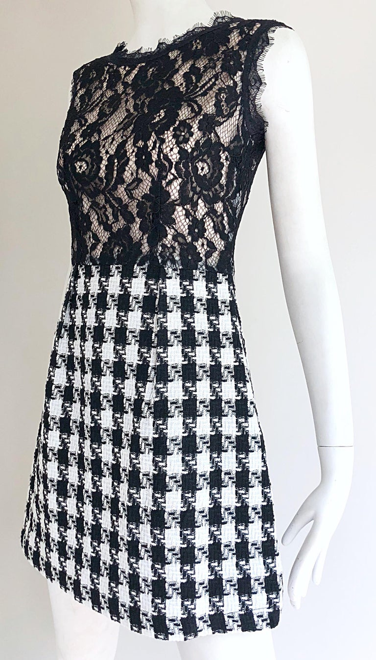 Marc Jacobs Early 2000s Black And White Lace Houndstooth