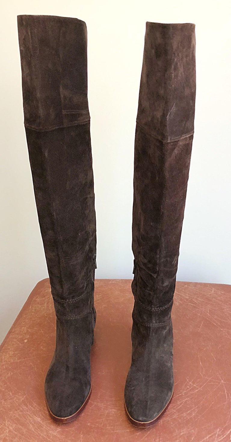 a7603b1e03e New Chloe Size 37   7 Brown Suede Leather Over The Knee Riding Boots In New
