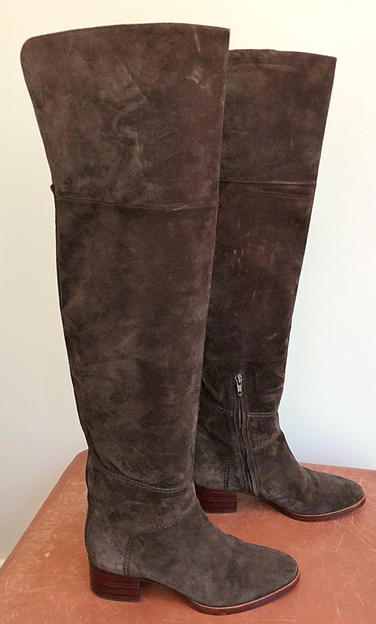 New Chloe Size 37 7 Brown Suede Leather Over The Knee