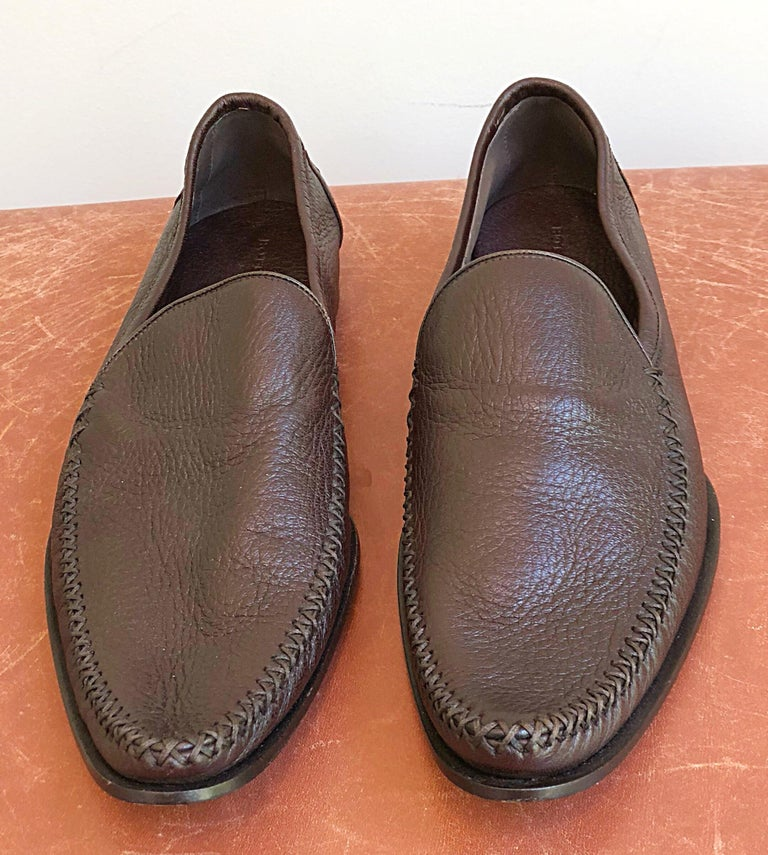 540b649de4d Black Bottega Veneta Size 38.5   8.5 Chocolate Brown Women s Flats Loafers  Shoes For Sale