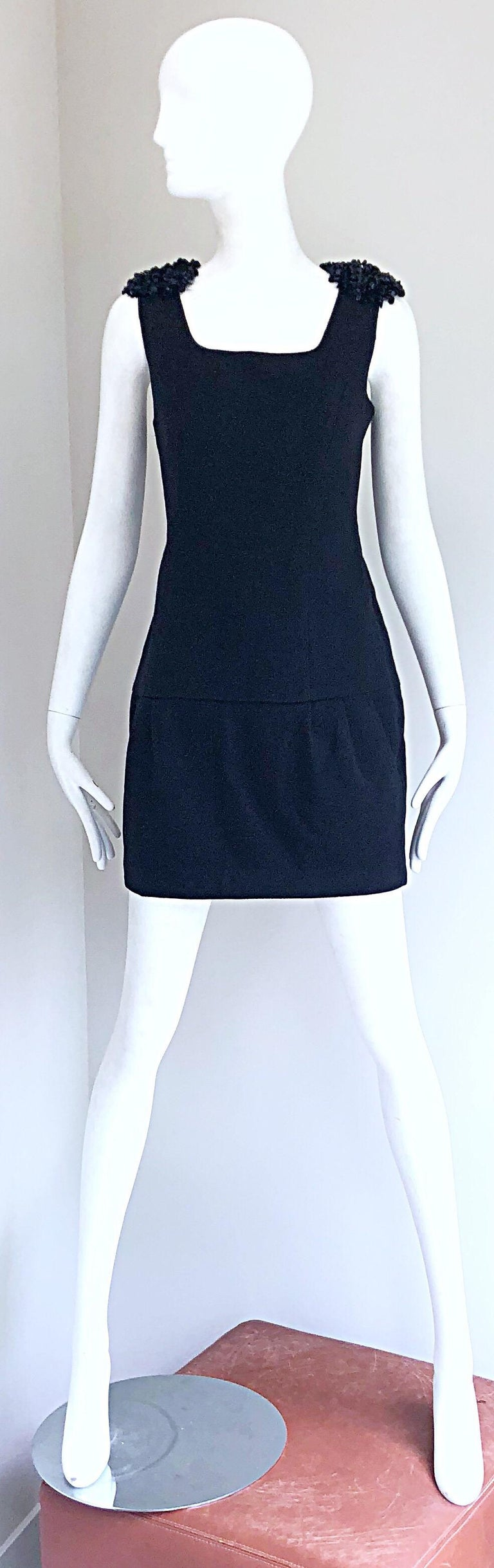 1990s Miu Miu Black Virgin Wool Sequin Beaded Vintage 90s Mini Dress In Excellent Condition For Sale In Chicago, IL