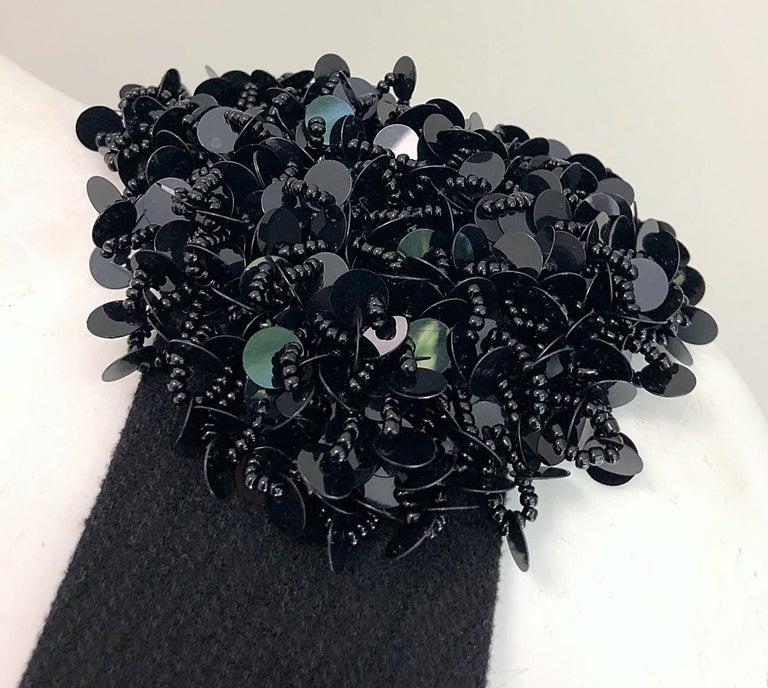 Women's 1990s Miu Miu Black Virgin Wool Sequin Beaded Vintage 90s Mini Dress For Sale