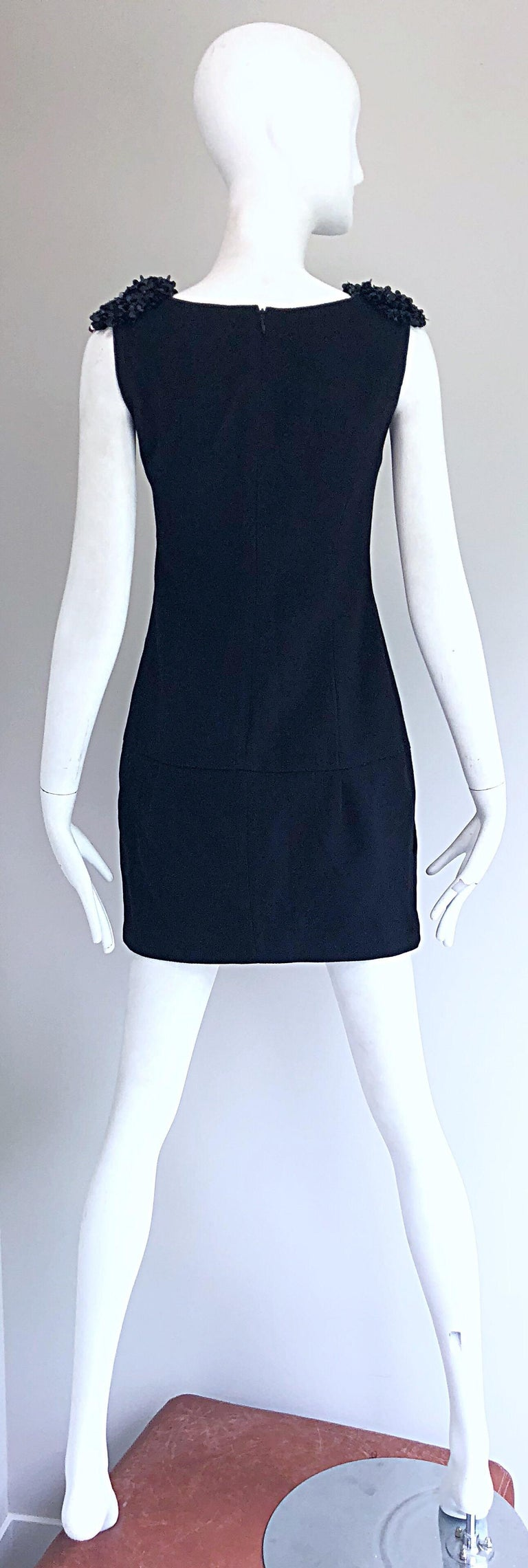 1990s Miu Miu Black Virgin Wool Sequin Beaded Vintage 90s Mini Dress For Sale 1