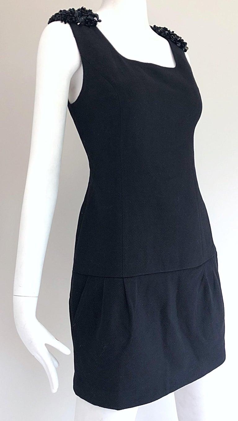 1990s Miu Miu Black Virgin Wool Sequin Beaded Vintage 90s Mini Dress For Sale 2