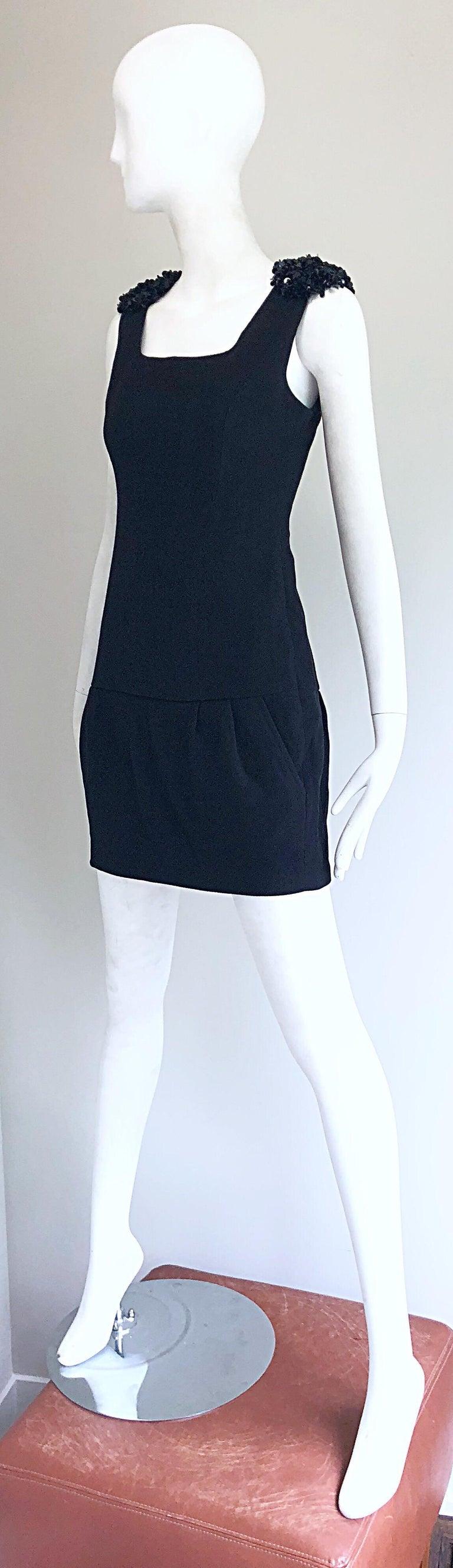 1990s Miu Miu Black Virgin Wool Sequin Beaded Vintage 90s Mini Dress For Sale 3