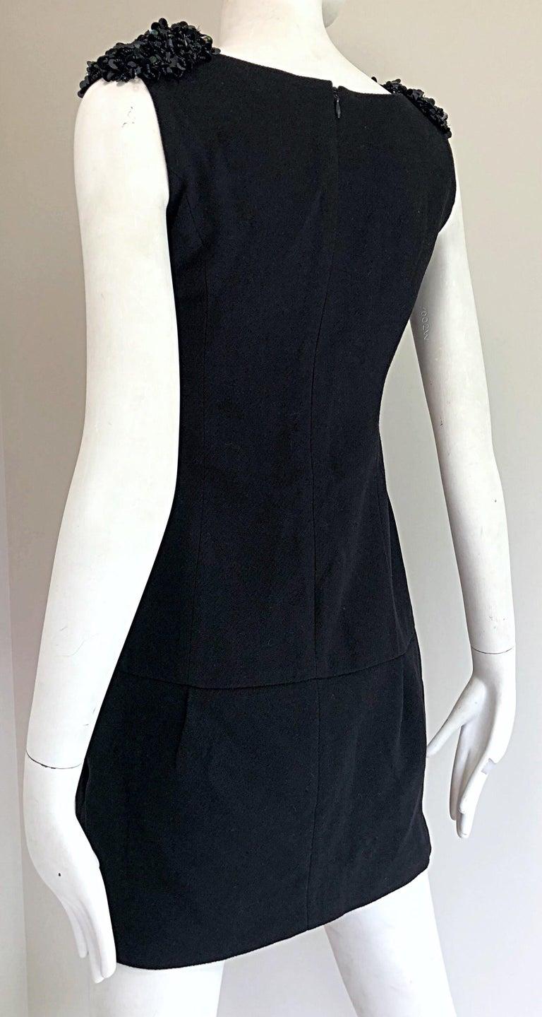 1990s Miu Miu Black Virgin Wool Sequin Beaded Vintage 90s Mini Dress For Sale 4