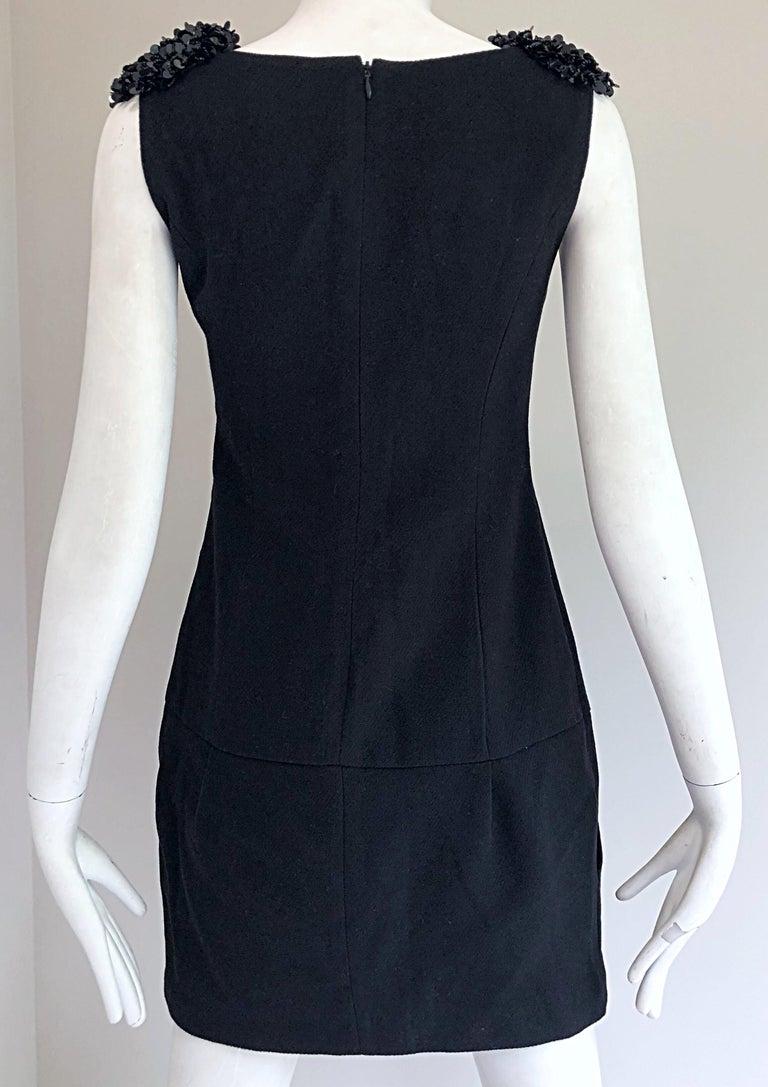 1990s Miu Miu Black Virgin Wool Sequin Beaded Vintage 90s Mini Dress For Sale 5