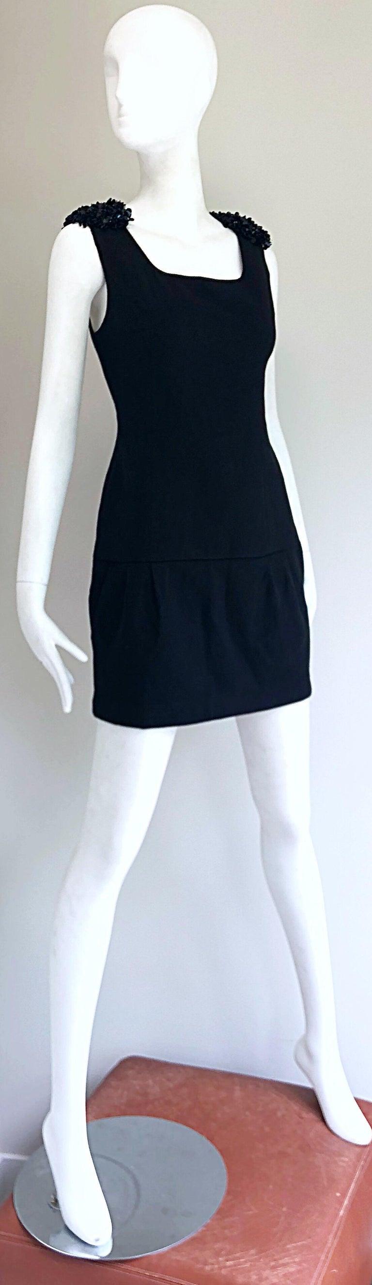 1990s Miu Miu Black Virgin Wool Sequin Beaded Vintage 90s Mini Dress For Sale 6