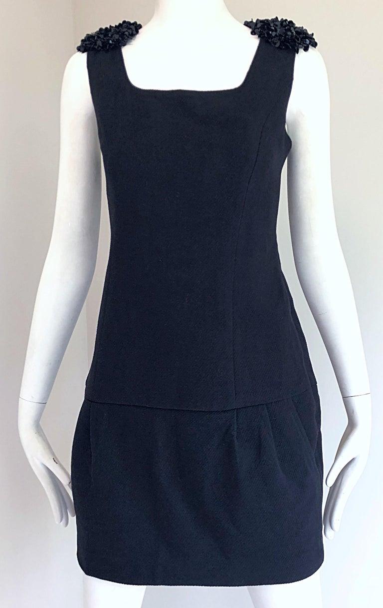 1990s Miu Miu Black Virgin Wool Sequin Beaded Vintage 90s Mini Dress For Sale 7