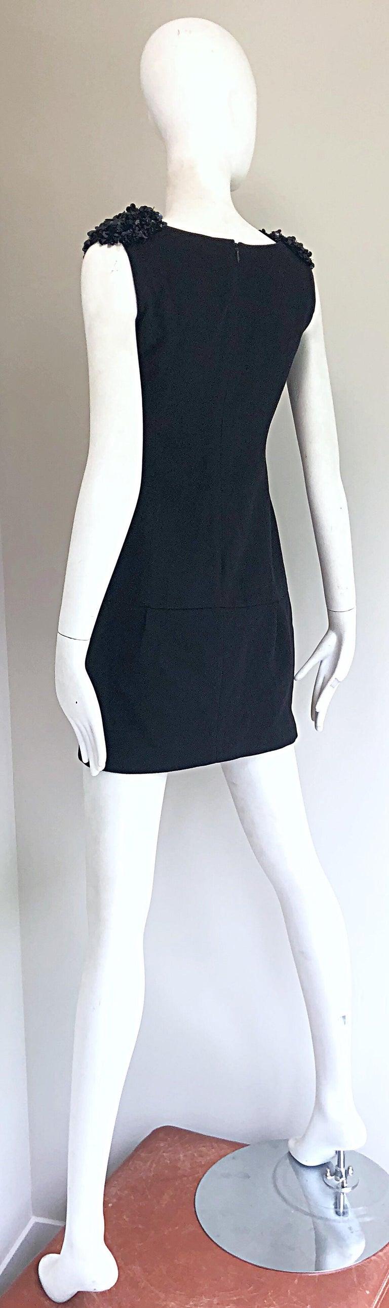1990s Miu Miu Black Virgin Wool Sequin Beaded Vintage 90s Mini Dress For Sale 9