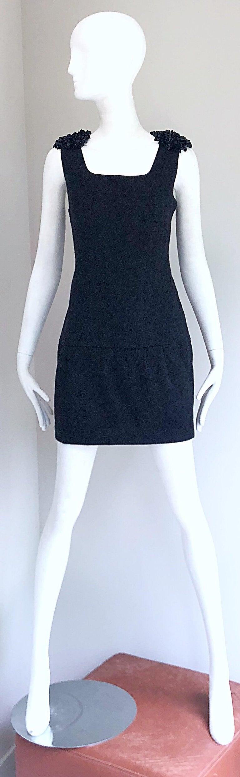 1990s Miu Miu Black Virgin Wool Sequin Beaded Vintage 90s Mini Dress For Sale 10