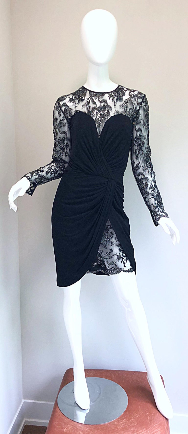Gorgeous Vintage Vicky Tiel Couture Black Silk Jersey + Lace Rhinestone Dress In Excellent Condition For Sale In Chicago, IL