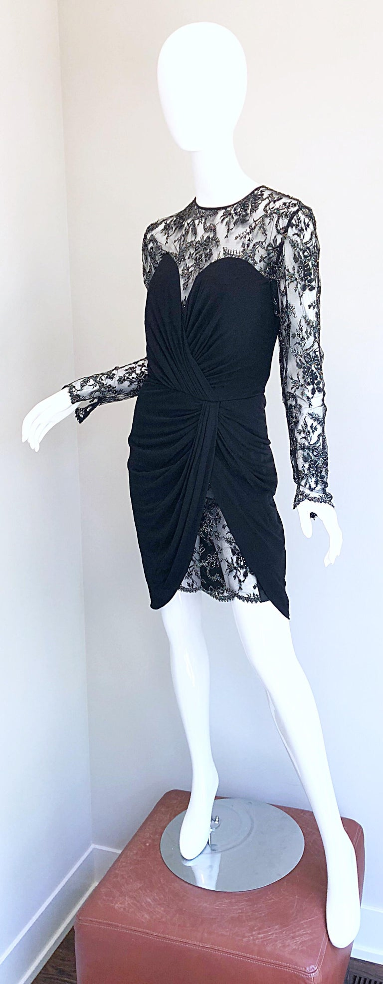 Gorgeous Vintage Vicky Tiel Couture Black Silk Jersey + Lace Rhinestone Dress For Sale 1