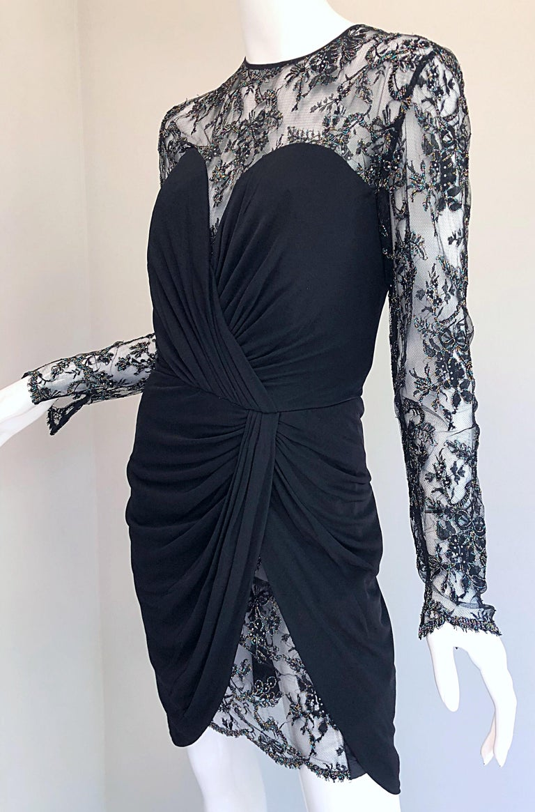 Gorgeous Vintage Vicky Tiel Couture Black Silk Jersey + Lace Rhinestone Dress For Sale 3