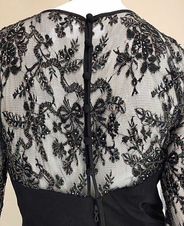 Gorgeous Vintage Vicky Tiel Couture Black Silk Jersey + Lace Rhinestone Dress For Sale 4