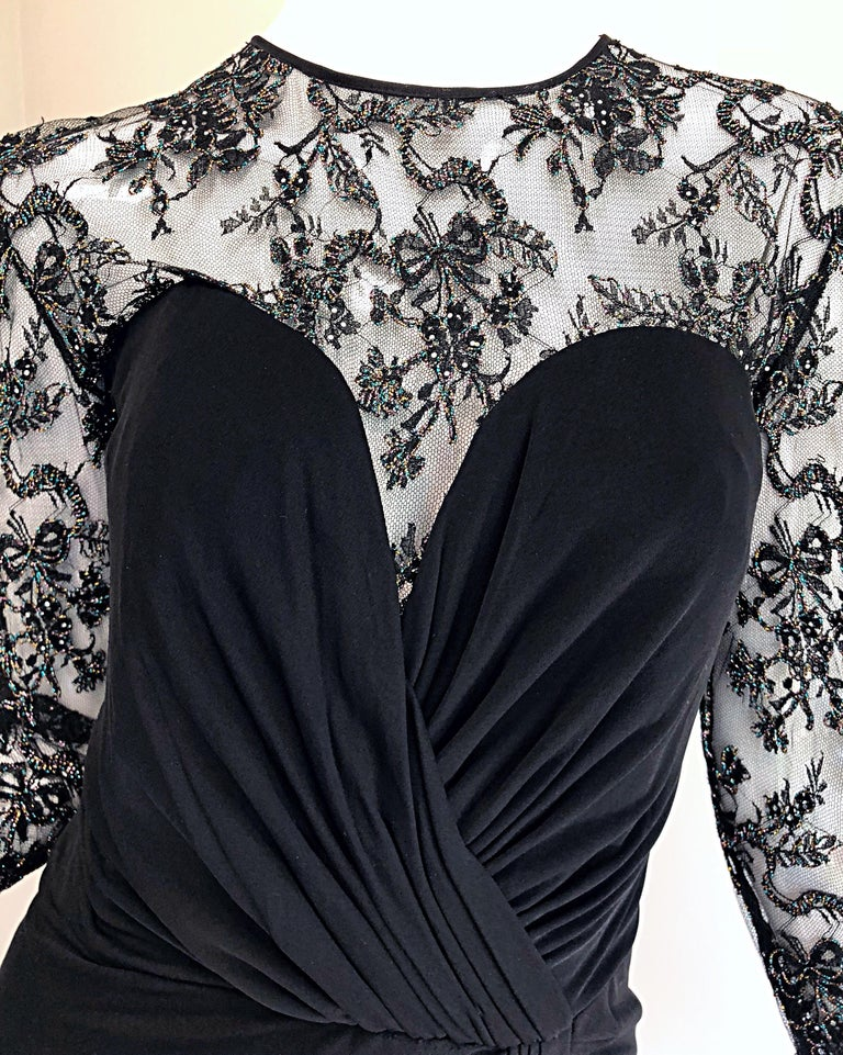 Gorgeous Vintage Vicky Tiel Couture Black Silk Jersey + Lace Rhinestone Dress For Sale 5