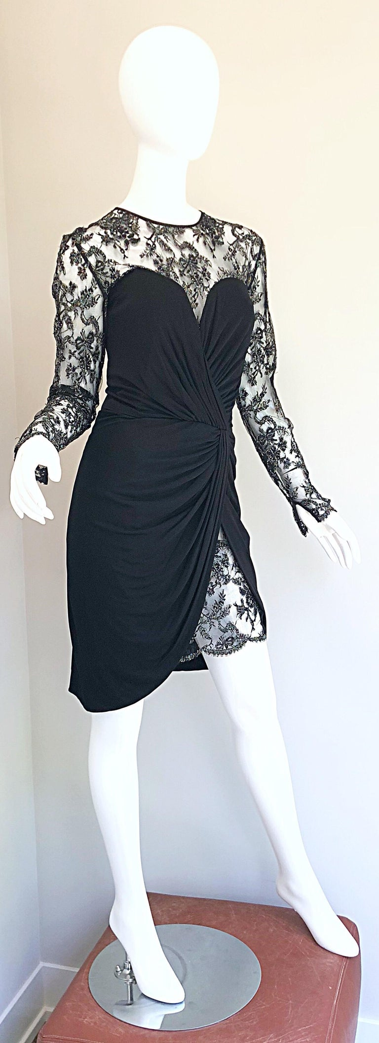 Gorgeous Vintage Vicky Tiel Couture Black Silk Jersey + Lace Rhinestone Dress For Sale 6