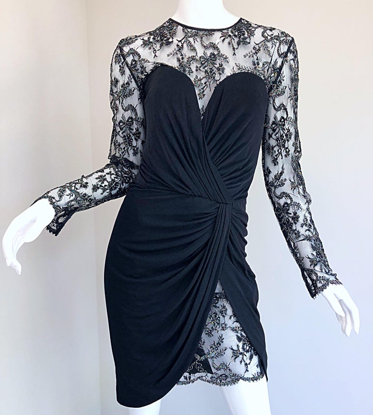 Gorgeous Vintage Vicky Tiel Couture Black Silk Jersey + Lace Rhinestone Dress For Sale 7