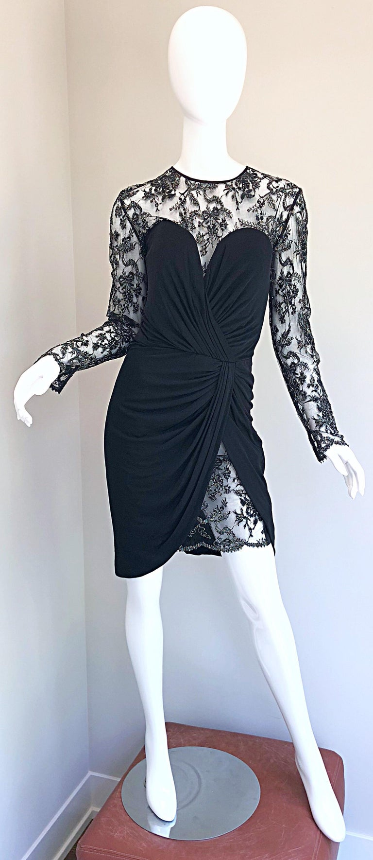 Gorgeous Vintage Vicky Tiel Couture Black Silk Jersey + Lace Rhinestone Dress For Sale 8