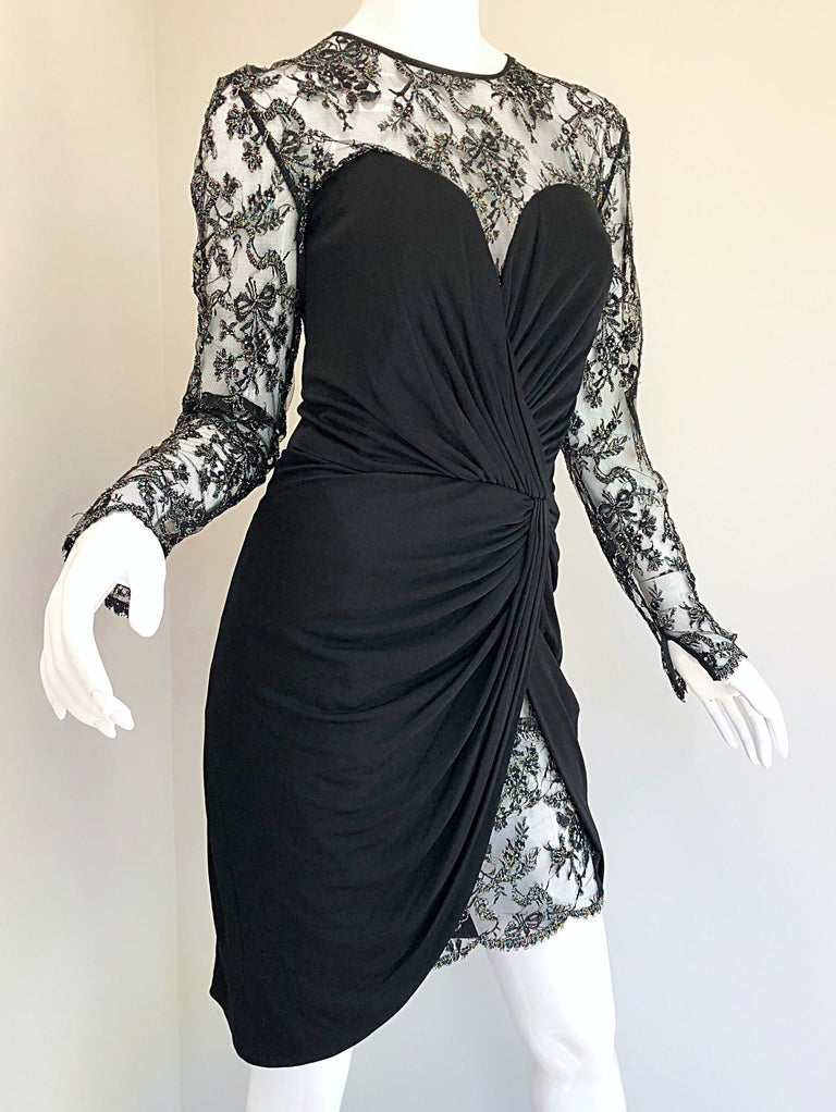 Gorgeous Vintage Vicky Tiel Couture Black Silk Jersey + Lace Rhinestone Dress For Sale 9