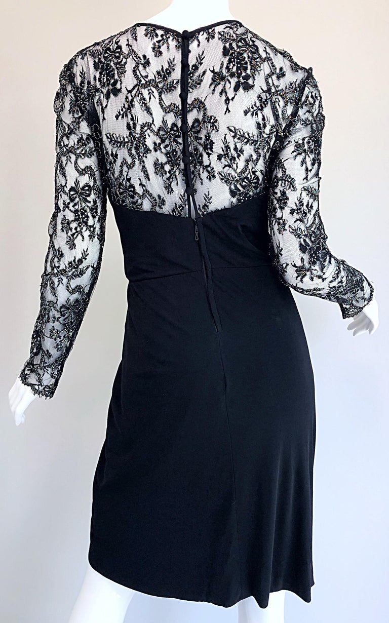 Gorgeous Vintage Vicky Tiel Couture Black Silk Jersey + Lace Rhinestone Dress For Sale 10