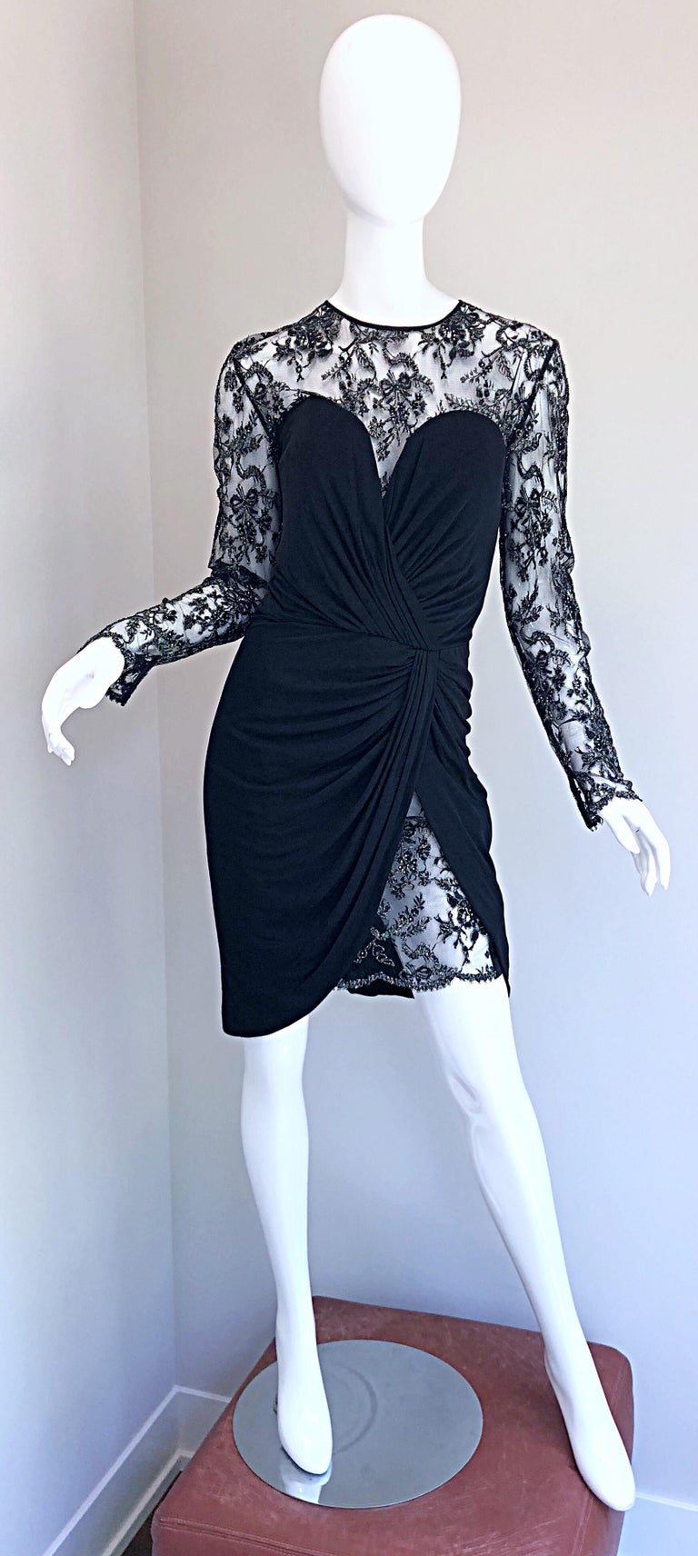 Gorgeous Vintage Vicky Tiel Couture Black Silk Jersey + Lace Rhinestone Dress For Sale 11