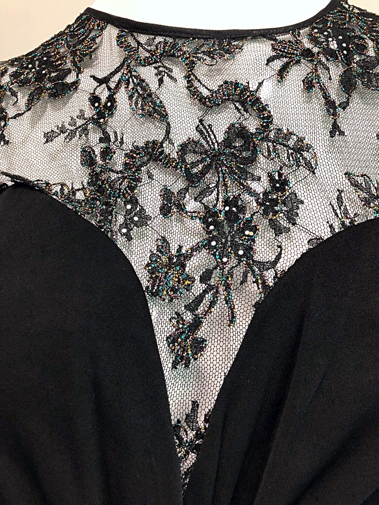 Gorgeous Vintage Vicky Tiel Couture Black Silk Jersey + Lace Rhinestone Dress For Sale 12