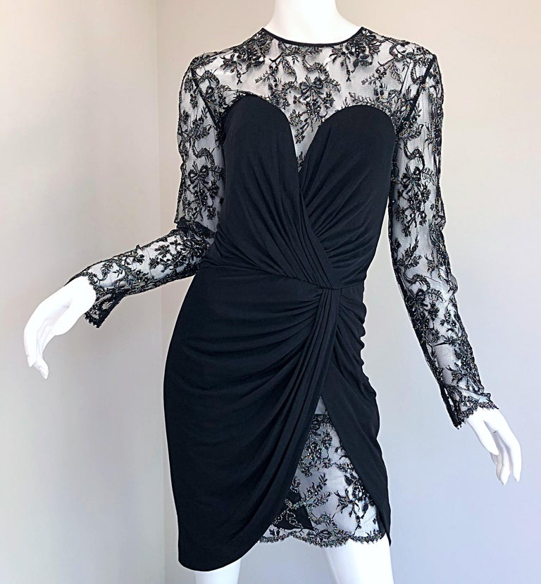 Gorgeous Vintage Vicky Tiel Couture Black Silk Jersey + Lace Rhinestone Dress For Sale 13