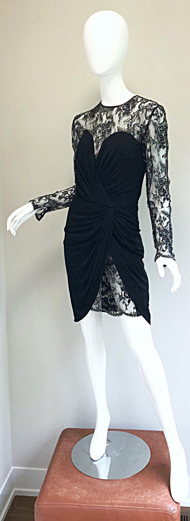 Gorgeous Vintage Vicky Tiel Couture Black Silk Jersey + Lace Rhinestone Dress For Sale 14